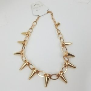 Punk Edgy GOLD Spike Choker Collar Necklace